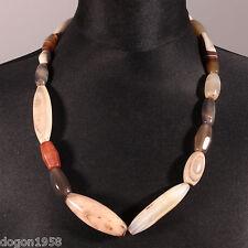 8894 Collier avec perles de troc AnciensAgate pierre  XIXeme