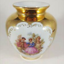 "vtg STW Bavaria Germany 4"" Small Gold Courting Couple Love Story Fragonard Vase"