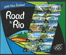 NEW ZEALAND 2016 ROAD TO RIO SHEETLET OF 10  FINE USED OLYMPICS