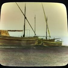 Antique Magic Lantern Glass Slide Photo Fishing Boats Italy Color