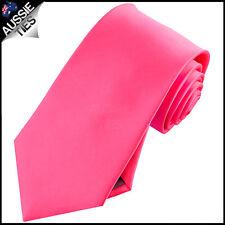 MENS HOT PINK 8.5CM TIE necktie wedding plain bright formal