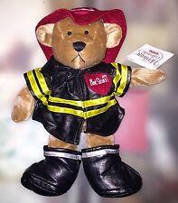 "NEW TEDDY BEAR PLUSH IN BLACK FIREMANS UNIFORM FIREFIGHTER 12"""