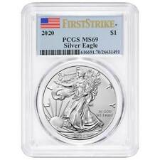 2020 $1 American Silver Eagle PCGS MS69 First Strike Flag Label