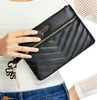 NWT GUESS CARLITA WRISTLET BAG Black Logo Clutch Pouch Handbag Wallet GENUINE
