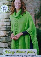 KNITTING PATTERN Ladies Slouchy Poncho Cable Ribbed Cascade Wrap PATTERN