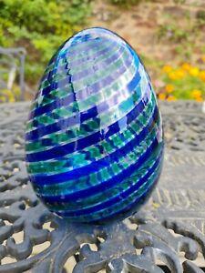 Vintage Murano  blue glass egg / lamp . Swirl . Signed .