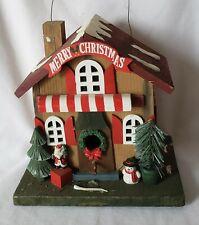 Vintage Christmas Wooden Shop Birdhouse Outdoor Theme Decor