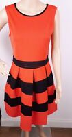 Ex QUIZ RED Black Mesh Fit and Flare Skater Dress Size 12 - 14