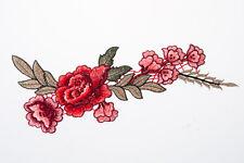 Red Flower Embroidered Craft Bouquet Flower Needlework Floral Decor Sew Iron