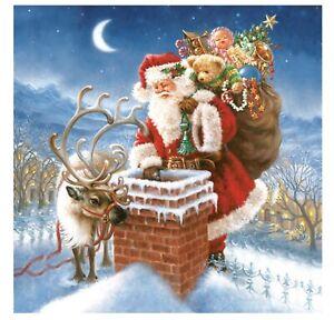 Napkins for Decoupage Christmas LUXURY Decorations Santa Chimney 33x33cm 3PLYx20
