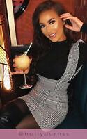 Women New Ladies Check Tartan Fril Ruffled Pinafore Bodycon Mini Dress 8-14 UK