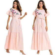 Women Short Sleeve Maxi Dress Embroidery Ruffled Abaya Kaftan Muslim Robe Caftan