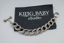 "King Baby Studio Textured Sterling Silver Heavy Bracelet 9 3/4"" Long 146.4g"