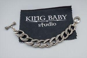 "King Baby Studio Textured Sterling Silver Heavy Bracelet 9 3/4"" Long 146.4g"