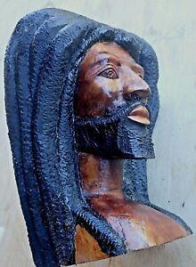 Vintage Wood Carving, Caribbean  Art, Jamaican Rasta Man