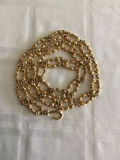 Vintage Gold Tone Women's Heavy Bamboo Chain Link Belt Adjustable