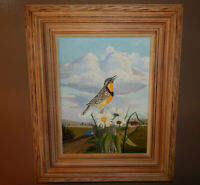 MEADOW LARK original oil on canvas painting artist signed framed birds flowers