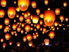 100Pcs Mix Paper Chinese Lanterns Sky Fly Candle Lamp for Wish Party Wedding