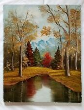 Fall Landscape Oil on Canvas Painting Signed Juanita Walls 1973 Trees Mountains
