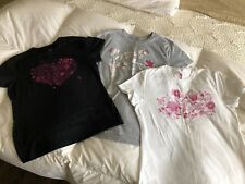 Mixed Lot of 3 Breast Cancer Awareness Embellished Tees - Sizes S/P and M
