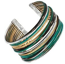 "Silpada 'Fresco' Sterling Silver and Patina  Brass Cuff Bracelet Size 7-8"" wrist"