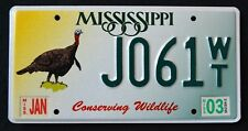 """MISSISIPPI """" CONSERVING  WILDLIFE TURKEY - BIRD """" MS Specialty License Plate"""