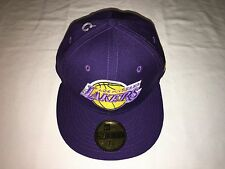 NWT   NBA LA Lakers new era cap hat men or youth boy size 7 1/8  purple