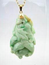 14k Gold Genuine Natural Green Variegated Jade Pendant Budda Hand Freeform #G096