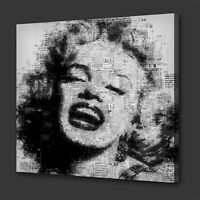 ICONIC MARILYN MONROE NEWSPAPER STYLE MODERN WALL ART PICTURE CANVAS PRINT