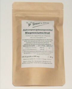 Magnesium-Citrat 100 Kapseln a 600mg Made in Germany.