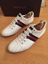 Gucci  170576 Mens Trainer White Leather Web Sneakers Shoes Uk 10, Made In Italy