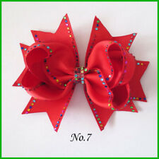 "10 BLESSING Girl 4.5"" Shine Maple Leaf Hair Bow Clip Rhinestone Rainbow"