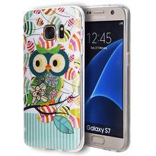 For Samsung Galaxy S7 - HARD TPU RUBBER SKIN CASE COVER GREEN GLITTER FLOWER OWL