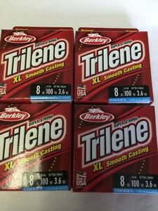 4-BERKLEY TRILENE SMOOTH CASTING 8LB 100 YDS EACH COLOR CLEAR BLUE FLOURESCENT