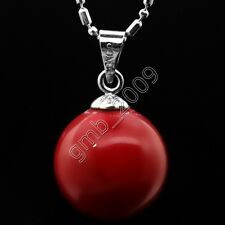 AAA 14mm Genuine Round Coral Red South Sea Shell Pearl 18KGP Pendant Necklace