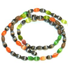 G1856L Assorted Color Mix 6mm Tapered Oval Cat's Eye Fiber Optic Glass Beads 16""