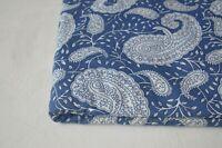 40 Yards Indian Handmade Printed Fabric Paisley Print 100% Cotton Dress`Fabric