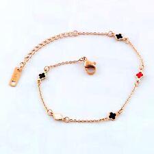 Bracelet  Trèfle Lucky Doré Acier Inox Email Multicolore Rouge Noir Fin TRB1