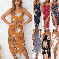 Womens Summer Beach Sundress Floral Strap Evening Party Cocktail Long Maxi Dress