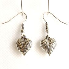 Shaped Design With Filigree Style. Small Silver Plated Drop Earrings, Heart