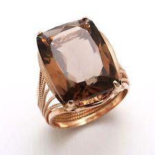 Vintage 14k Rose gold Smoky Topaz Ring 18 carat Cushion Cut Estate