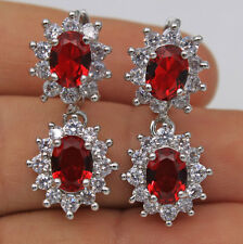 18K White Gold Filled - Red Ruby Topaz SunFlower Wedding Women Hoop Earrings