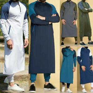 Kaftan Men Dubai Thobe Islamic Muslim Clothing Arabic Qatar Robe Long Sleeve...