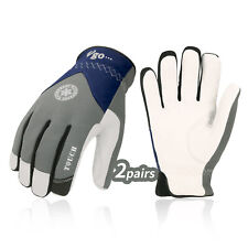 Vgo 2Pairs 32℉ Goatskin Leather with Waterproof Winter Work Gloves(GA8977FW)