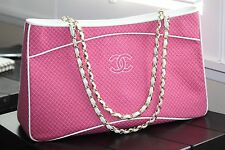 AUTH. Chanel pink quilted canvas shopping tote