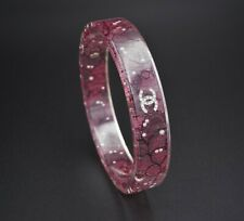 Authentic Designer Chanel Lucite Red Lace Pearl Bangle Bracelet Box Pouch BS1981