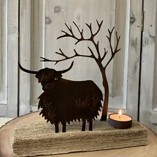 Highland Cow Metal Wood Christmas Candle T light Holder Vintage Country Votive