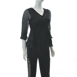 Marc Jacobs Women's 3/4 Bell Sleeve Panel Mesh Top Black  V-Neck Sequin Size 2