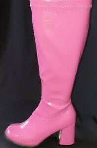 Knee High Go-Go boot by 'Elle', PVC, hot pink, size 7