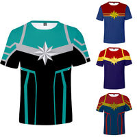 Captain Marvel Super Hero Men Short Top Casual Print T Shirt Tee Cotton Summer